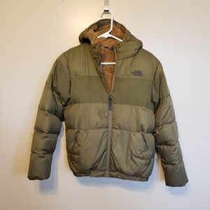 The North Face boys green warm down coat with hood